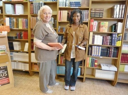 Marthe and Chantal at the Montpellier bookshop